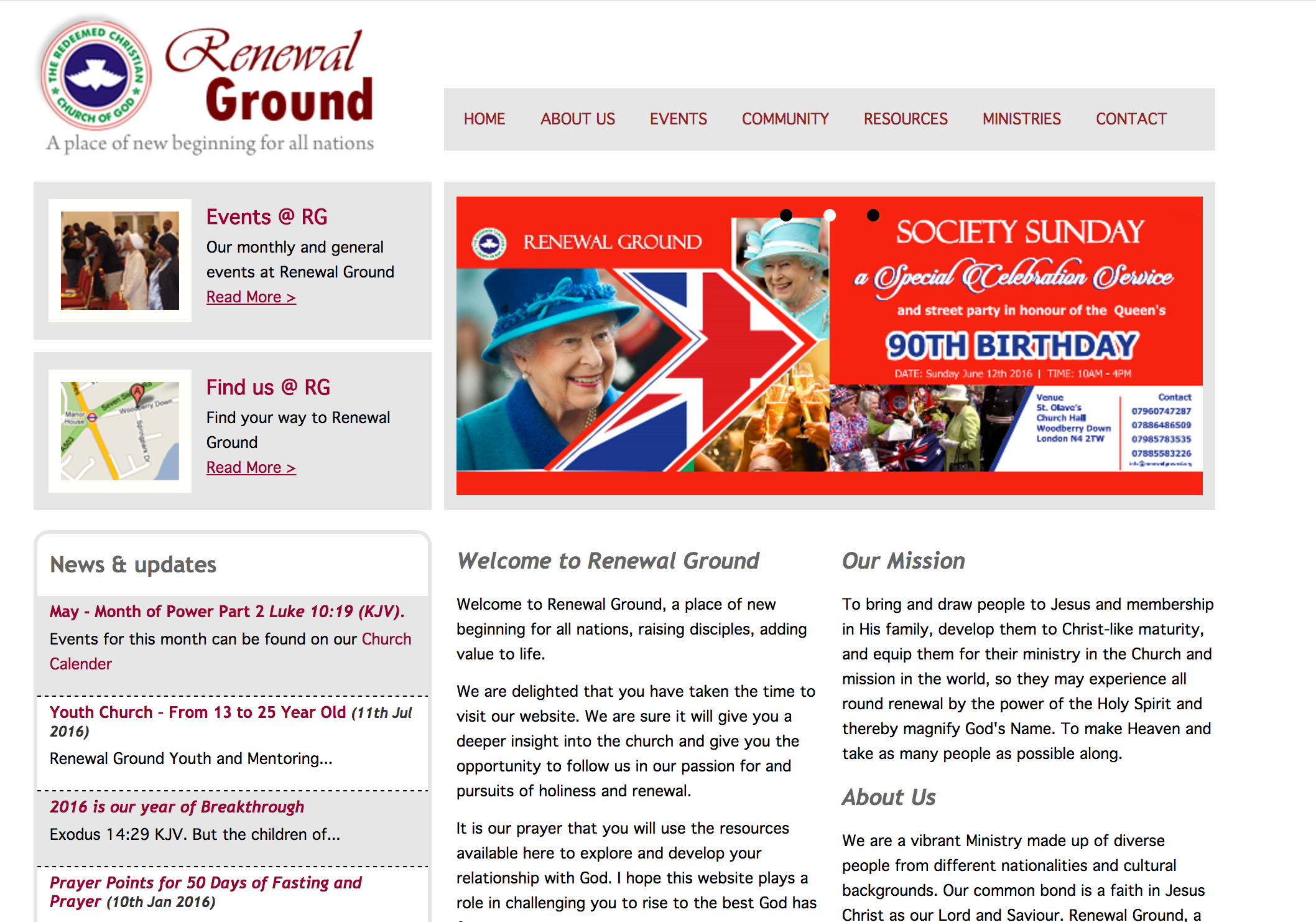 Renewal Ground Home Page